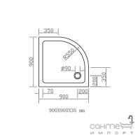Полукруглый душевой поддон Eger SMC 90x90 (599-9090R)