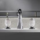 Смеситель для раковины на три отверстия с доным клапаном Oasis Venice 000RBVE080CR хром, стеклянные ручки