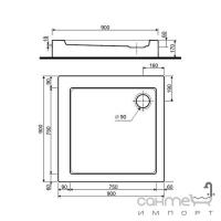 Квадратный душевой поддон с интегрированной панелью и ножками Kolo Simplo 90x90 XBK0691000 белый