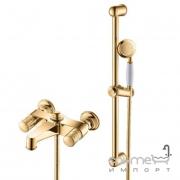 Настенный смеситель для ванны Yatin Carving Gold 8065020VF с ручным душем и душевым шлангом золото
