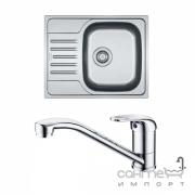 Кухонная мойка Franke Polar PXL 611-60 декор + смеситель Narew 35 Plus + сифон 101.0444.100