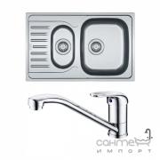 Кухонная мойка Franke Polar PXL 651-78 декор + смеситель Narew 35 Plus + сифон 101.0444.132