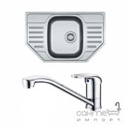 Угловая кухонная мойка Franke Polar PXL 612-E декор + смеситель Narew 35 Plus + сифон 101.0444.134