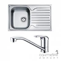 Кухонная мойка Franke Polar PXL 611-78 декор + смеситель Narew 35 Plus + сифон
