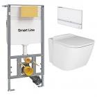 Унитаз подвесной с сидением + инсталляция + панель смыва Noken Pack Essense C 100176298 - N365850111