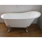Отдельностоящая акриловая ванна на хромированных львиных лапах с переливом Atlantis C-3015 белая