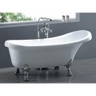Отдельностоящая акриловая ванна на хромированных львиных лапах без перелива Atlantis C-3015 белая